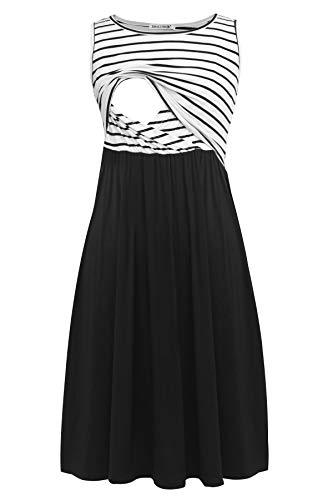 Smallshow Sukienka do karmienia bez rękawów, patchwork, z kieszeniami dla kobiet