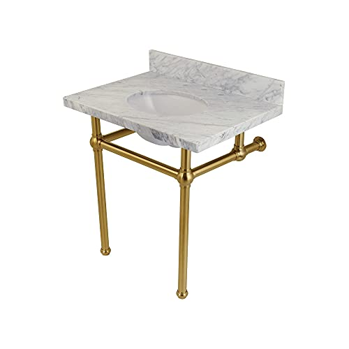 Fauceture KVPB3030MB7 Templeton Carrara Marble Bathroom Console Vanity with Brass Pedestal, Carrara Marble/Brushed Brass