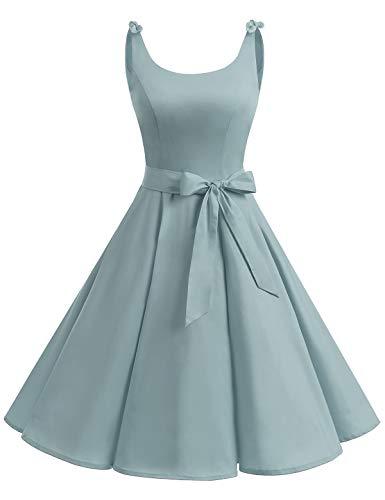 Bbonlinedress 1950er Vintage Polka Dots Pinup Retro Rockabilly Kleid Cocktailkleider Grey S