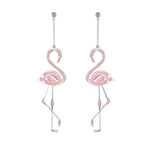 Fenical - Orecchini a forma di fenicottero, con catena lunga, per feste, spiaggia,da donna, eleganti (rosa)