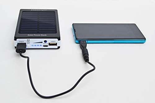 メテックスモバイルバッテリーホワイト12.3×7.7×2.2cmEVERBrightソーラーパワーバンク携帯スマホ充電SYHSPB-BK