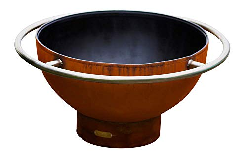 Buy Fire Pit Arts Outdoor Propane Fire Pit - Bella Luna - Gas Fire Pit Steel Bowl Includes Brass Bur...