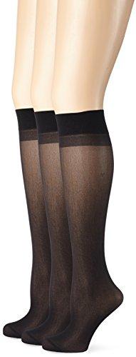 Ulla Popken Größe Größen Damen Weites Bein Kniestrumpf 3er Glanz Fein 308700, 30 DEN, Gr. One Size (HerstellerGröße: 1), Schwarz (Schwarz 10)