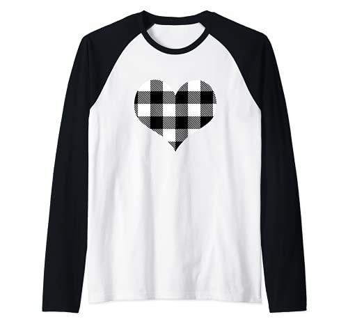 Tartas De Búfalo De Corazón Negro Y Blanco De San Camiseta Manga Raglan