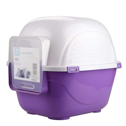 Bandeja de Basura con Entrada Frontal Kitty Litter Pan con Capucha Caja de Arena para Gatos Extra Grande Limpieza más fácil (Color : Púrpura, tamaño : 52 * 51 * 62cm)