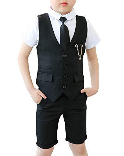 Shengwan Kinder Junge Anzug 4 Stück Sommer Hochzeit Anzüge Weste + Kurzarm Hemd + Kurze Hose + Krawatte Kinderanzug Festlich Outfit Schwarz 130cm