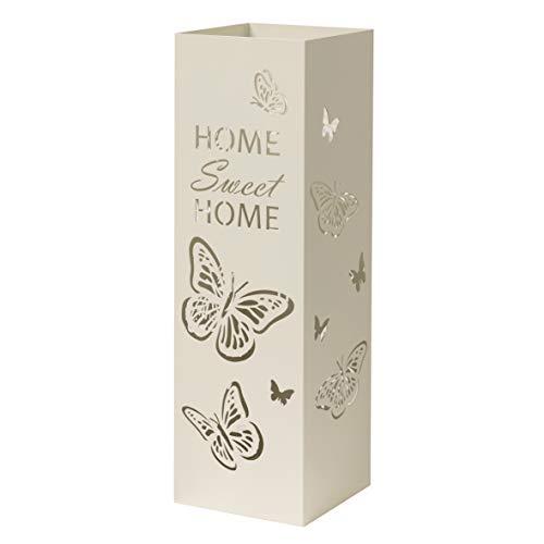Paragueros Modernos Baroni Home Diseño Mariposas con Tallado de Lluvia - Paragueros Originales Blanco con Gancho y Bandeja de Goteo Extraíble para Decorar el Hogar y la Oficina 15,5x15x49 cm
