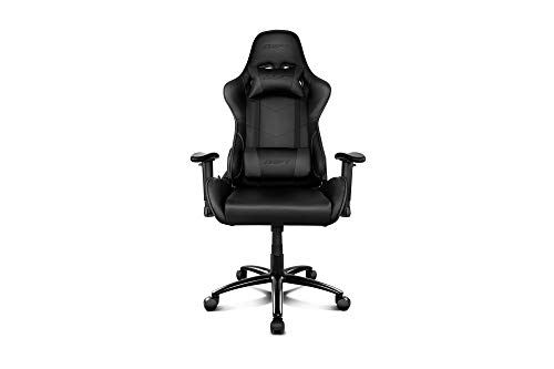 Drift DR125B - Silla Gaming Profesional, polipiel, reposabrazos ajustable 2D, piston clase 4, asiento basculable, altura regulable, respaldo reclinable, cojines lumbar y cervical, color negro