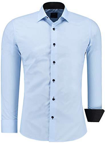 Jeel Herren-Hemd Langarm - Slim-Fit - Business Freizeit Hochzeit - Bügelleicht - Hellblau XL