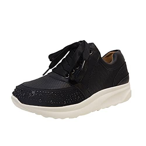 URIBAKY - Zapatillas de senderismo para mujer, con cordones transpirables, elegantes, suaves y cómodas, para exteriores, fitness, senderismo, Le Noir, 37 EU