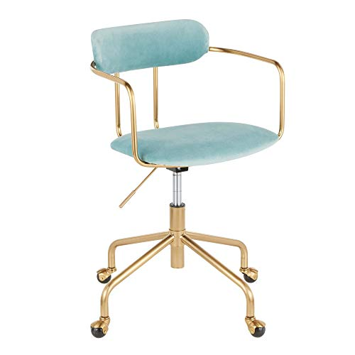 LumiSource Demi Office Chair in Gold Metal and Light Blue Finish OC-Demi AUVLBU