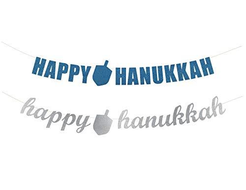 Happy Hanukkah Banner - Hanukkah Party Decorations, Jewish Festival Garland Banner, Happy Hanukkah Letter Garland, Dreidel Banner Decor (20+ Colors Available)