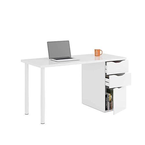 EGLEMTEK Scrivania con Cassetti Pamplona Scrittoio Mobile per Computer Desk da Ufficio Soggiorno Sala da Pranzo 138 x 74 x 60 cm Colore Bianco