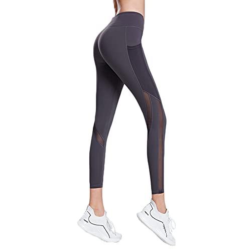 LIMESI Leggings Deportivos para Mujer, Cintura Alta Leggings Mallas con Bolsillos Pantalones de Yoga Elásticos para Fitness Training Running-M