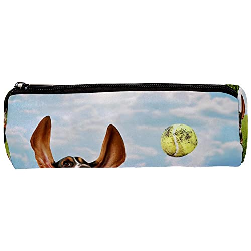 Basset Hound - Estuche para lápices, diseño de perro persiguiendo pelotas de tenis