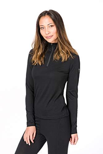 Super.natural Tee-shirt Manches Longues pour Femmes, Laine mérinos, W BASE 1/4 ZIP 175, Taille: L, Couleur: Noir