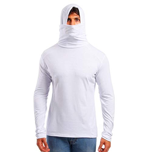 Men's Plain Hooded Sweatshirts with Mask Long Sleeve Solid Soft Casual Hoodies Pullover by URIBAKE White
