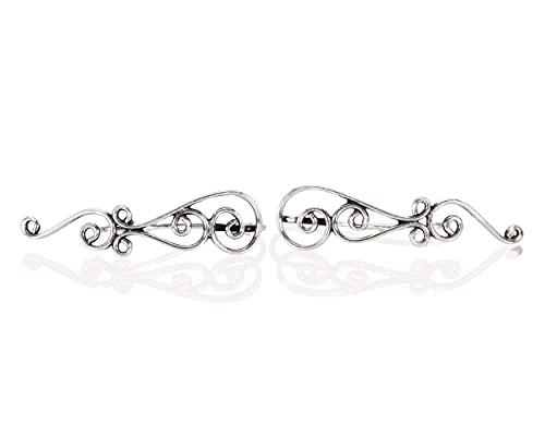 Ear Climbers, Silver Crawlers Earrings, A Pair of Celtic Knots Ear Crawlers, Sweep Earrings, Tribal Bohemian Ethnic Fashion Jewelry for Women, Handmade by Lilyom.