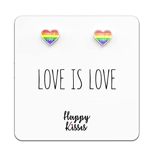 """Lesbian Earrings - LGBTQ Gifts - Gay Pride """"Love Is Love"""" Jewelry for Women & Men"""