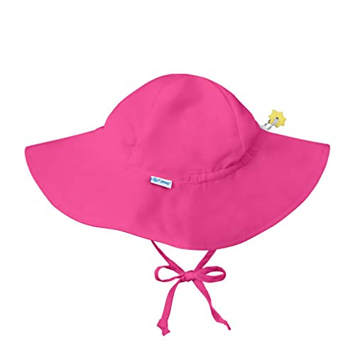 i play. by green sprouts Baby Toddler Brim Hat | All-Day UPF 50+ Sun Protection for Head, Neck, Eyes, Hot Pink, 2T/4T