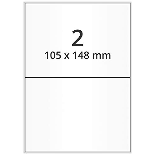 Labelident DIN A5 Etiketten - 105 x 148 mm - 2000 Papieretiketten auf 1000 DIN A5 Bögen, matt, DHL Versandetiketten selbstklebend