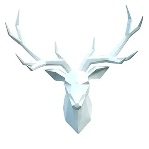 EDNFQ Stag Head Wall Mount Animal Heads Wall Decoration Stags Head Wall Decoration Resin Home Decor Creative Wall Art Decoration Sculpture Pendant Wall Mount (Color : White)