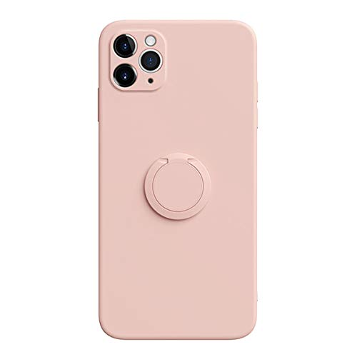 Grandcase Capa para iPhone 11 Pro Max, capa de silicone líquido à prova de choque, borda reta, forro de microfibra, suporte com anel giratório 360 para iPhone 11 Pro Max 6,5 polegadas – Rosa