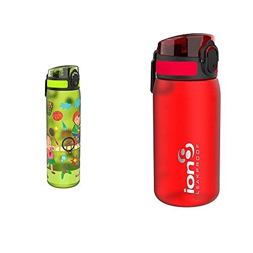 Ion8 Botella Agua, Sin Fugas, Sin Bpa, 500Ml, Deportiva + Leak Proof Bpa Free, Botella De Agua, Sin Bps, A Pueba De Fugas, Rojo (Frosted Scarlet Red), 350 Ml