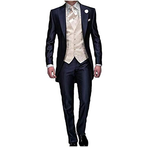 Men's Navy Blue Groom Tuxedos 3 PC Tailcoat Notch Lapel Wedding Suits Men Suit