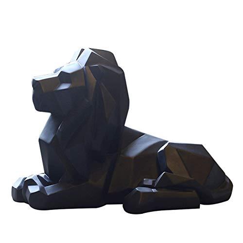 Fablcrew 1 Stück Löwe Skulptur-Statue, Handwerk, Büro, Dekoration, geometrisch, Kunstharz, Wildtiere, Löwe, Statue Craft (schwarz)