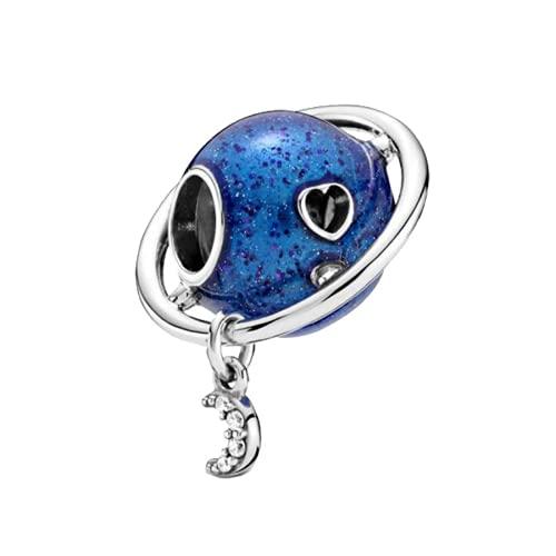 ZHANGCHEN 925 Sterling Silver Bead Planet Love & Moon Charm Fit Fashion Women Pan Bracelet Bangle Gift DIY Jewelry
