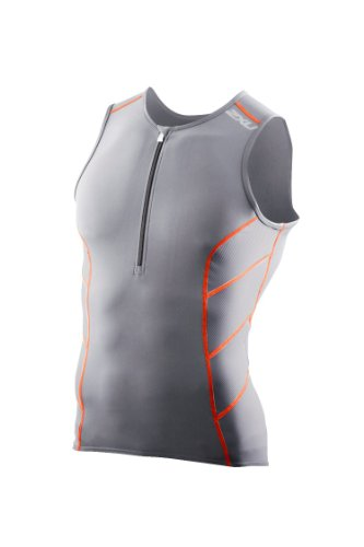 2XU Camiseta de triatlón de larga distancia para hombre - MT2258a, XXL, anaranjado, carbón, quemado (Charcoal/Burnt Orange)