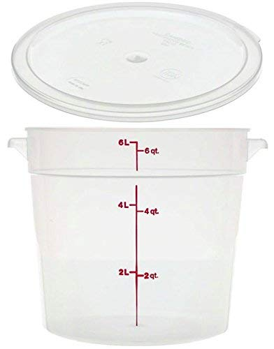 Cambro RFS6PP190 Camwear 6-Quart Round Food Storage Container with Lid