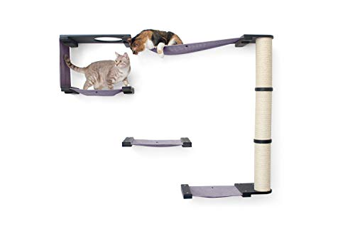CatastrophiCreations Climb Set for Cats Multiple-Level Wall Mounted Scratch, Hammock Lounge, Play & Climbing Activity Center Furniture Cat Tree Shelves, Onyx/Charcoal Gray, One Size