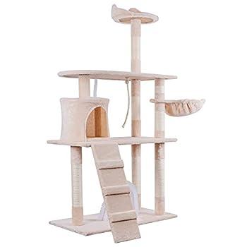 HOMIDEC 145 cm Arbre à Chat, Griffoir Stable pour Chat avec Brosse Cat Self Groomer, Griffoir en Bois Naturel avec Panier et Corde d'escalade pour Play Rest(Beige)