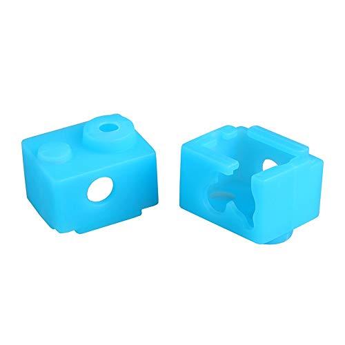 SOOWAY 3D Drucker Hotend Heizblock Silikon Abdeckung Socken Kompatibel mit V6 Extruder Resistent gegen hohe Temperaturen bis 280 Grad 2 Stücke (Blau)