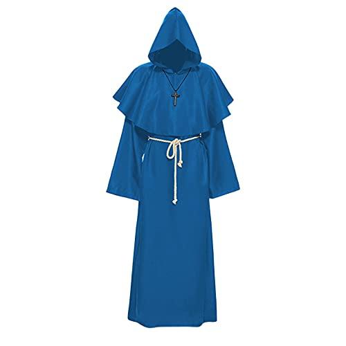 Xisimei Capa con capucha para hombre, estilo medieval, estilo gótico, capa larga, disfraz de Halloween, unisex, cosplay, bruja vampiro, azul, S