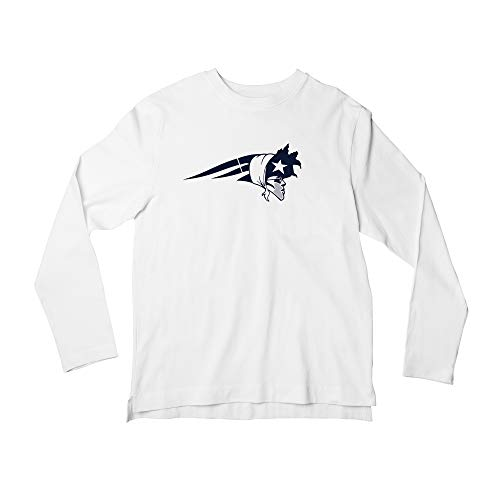 Women's Long Sleeve Cam The Patriot -Shirt, New England Football Shirt for Ladies (White, LG)