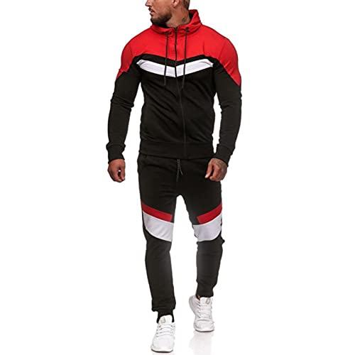 Trajes casuales para correr para hombre con capucha para gimnasio y deportes deportivos con cremallera completa, Negro, XXXL