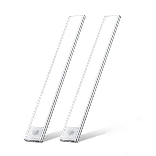 LED Unterbauleuchte, Wiederaufladbare Led Leiste 54 LEDs Küchenbeleuchtung mit Bewegungsmelder Schrankleuchten Lichtleiste Schranklicht für Küche,Schrank,Kofferraum,Treppe,Schublade 2 Stk Kaltweiß