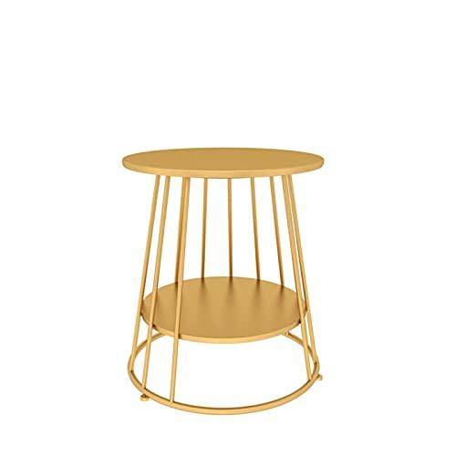 JIAQUAN-SHOP Mesa de centro Mesa auxiliar con mesa de centro redonda de 2 capas, mesa de aperitivos para uso en interiores o exteriores, mesa de café (dorado) Mesa de té moderna