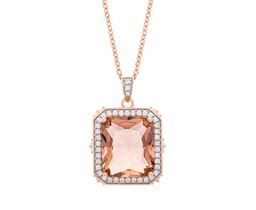 NYC Sterling Women Rose Gold Plated Cubic Zirconia Simulated Morganite Halo Pendant Necklace