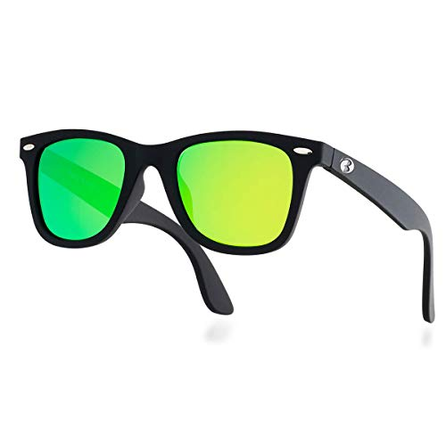 B.N.U.S Bnus - Gafas de sol con lentes de cristal para hombre y mujer, tonos clásicos retro con opción polarizada italiana