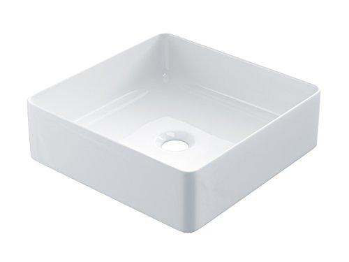 STARBATH PLUS Lavabo Cerámica Sobre Encimera Cuadrado Blanco (36 x 36 x 12 cm) SFSQ36