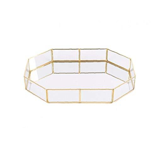 Heall Trompeta 1PC Decorativo de Cristal Bandeja Polígono bañados en Oro de joyería de la Vendimia del Plato de latón Bandeja de la Mesa de Centro de la Bandeja de Perfume 3.94'* 5.58' * 1.77