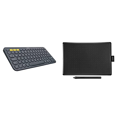 Logitech K380 Teclado Inalámbrico Multi-Dispositivos para Windows/Apple iOS/Android/Chrome + Wacom One by Wacom Medium - Tableta gráfica con lápiz Digital