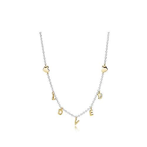Pulsera de plata, collar fino con letra AMOR dorada, regalo de San Valentín niña Collana cavigliera con bracciale multiuso Collar tobillera pulsera multiusos