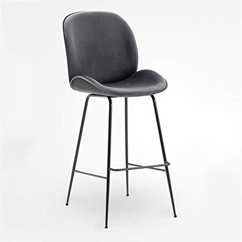 GTD-RISE Barhocker Barstuhl, Schmiedeeisen Freizeit Bar Stühle, Nordic Simple Home Zähler Frühstück Speisesaal Barhockern mit Rückenlehne stühlen (Color : Ark Gray)