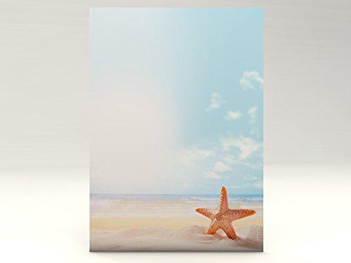 Motivpapier Seestern, 50 Blatt Motivpapier DIN A4, 90g/qm Sommer Urlaub Strand