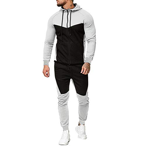 WOCACHI Final Clear Out Mens Tracksuit 2 Piece Sets Patchwork Sweatshirt Tops Pants Hooded Sports Suit Hoodies Jackets Sweatpants Pullover Spring Winter Long Sleeve Warm